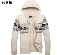 Autumn Men Thermal Cardigan Sweaters Long Sleeve Slim Fit Outerwear Single Breasted Thick Knitted Cardigans Men hooded coat 8220