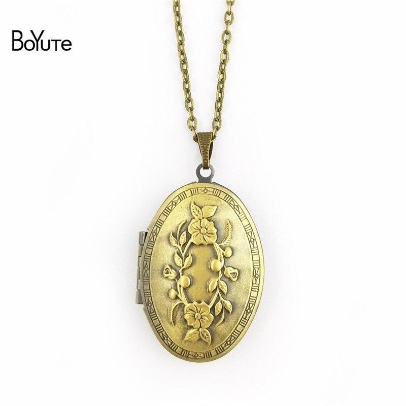BoYuTe Retail 1 Piece 70CM Chain 2338MM Oval Floating Photo Locket Necklace Pendant Open Necklace (3)
