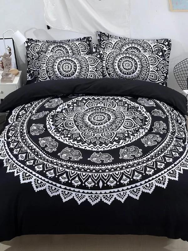 New Tribal Flowers Mandala 3 pieces Duvet Cover Set & Pillowcases  White Bedding Bed linensNew Tribal Flowers Mandala 3 pieces Duvet Cover Set & Pillowcases  White Bedding Bed linens
