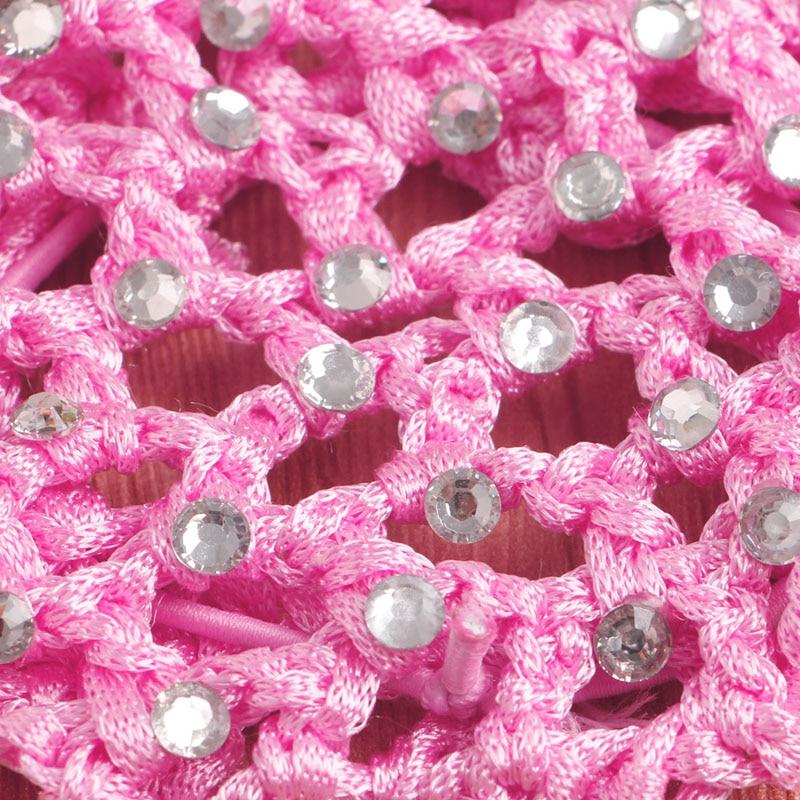 women Girls Rhinestone Bun Cover Crochet Cover Snood pink Hair Net ...