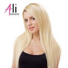 """Али-Красота 613 светлые волосы пучки бразильский Прямо Пряди человеческих волос для наращивания машина сделала Волосы Remy утка 18-24 """"может на заказ"""