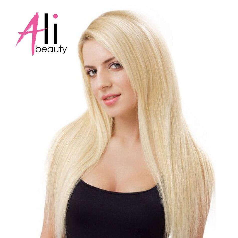 """Angemessen Ali-schönheit #613 Gerade Blonde Haare Bündelt Echthaar Extensions Remy Haareinschlagfaden 18-24 """"schuss Breite 120-130 Cm Elegante Form"""