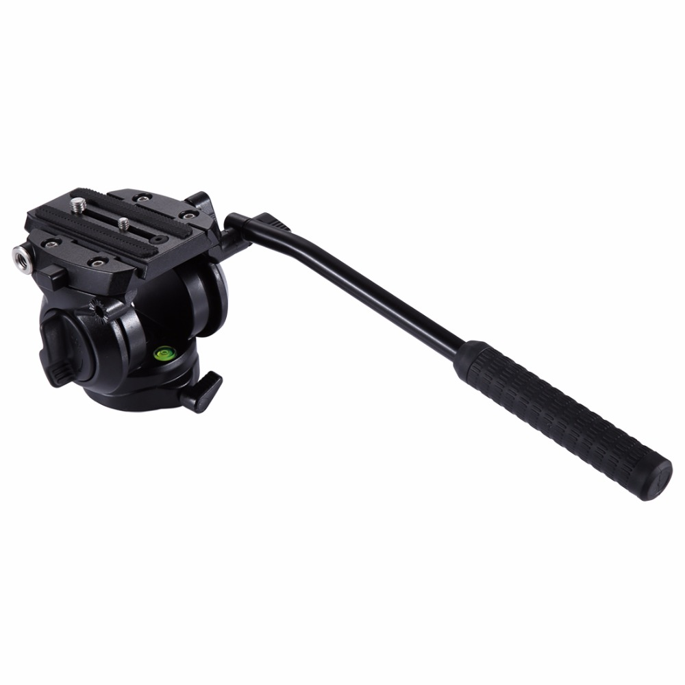 PULUZ Heavy Duty Video Camera Tripod Action Fluid Drag Head with Sliding Plate for DSLR & SLR Cameras