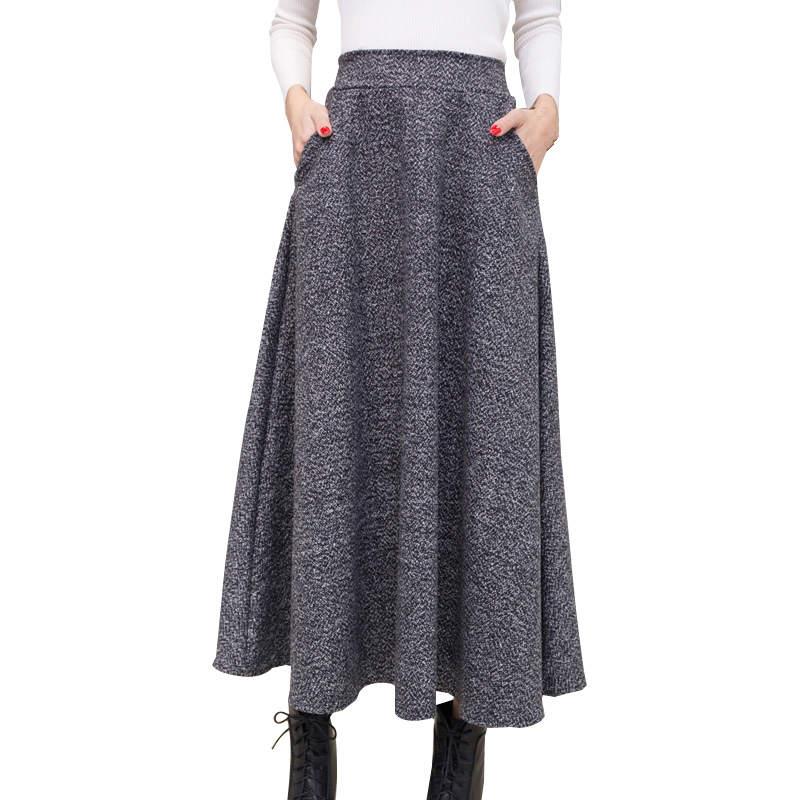 f9031e391ec54 Autumn And Winter Long Skirt Women Vintage Woolen Skirt High Waist ...