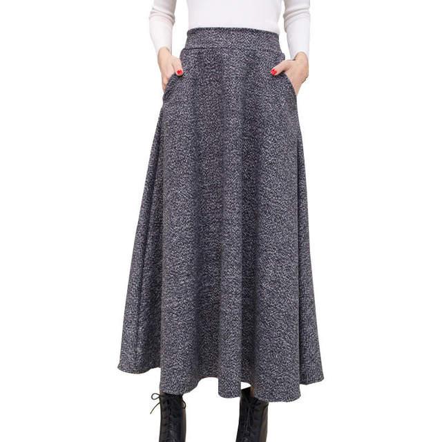 e6aef7a2ab Autumn And Winter Long Skirt Women Vintage Woolen Skirt High Waist Saia  Faldas Wool Pleated Skirts Womens Warm Maxi Skirt C2560