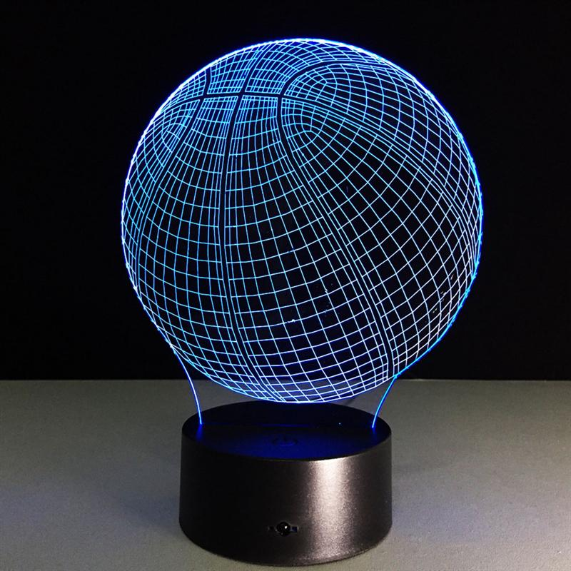 Acrylic Basketball Shape 7 Color 3D LED Nightlight Of Bedroom Lamp Livingroom Lights Desk Table Decoration Night Light ...
