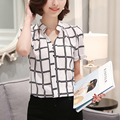 Fashion 2016 Summer Women Blusas Casual Plaid Print Chiffon Shirts Elegant Short Sleeve V-neck Blouse Tops Plus Size XXL