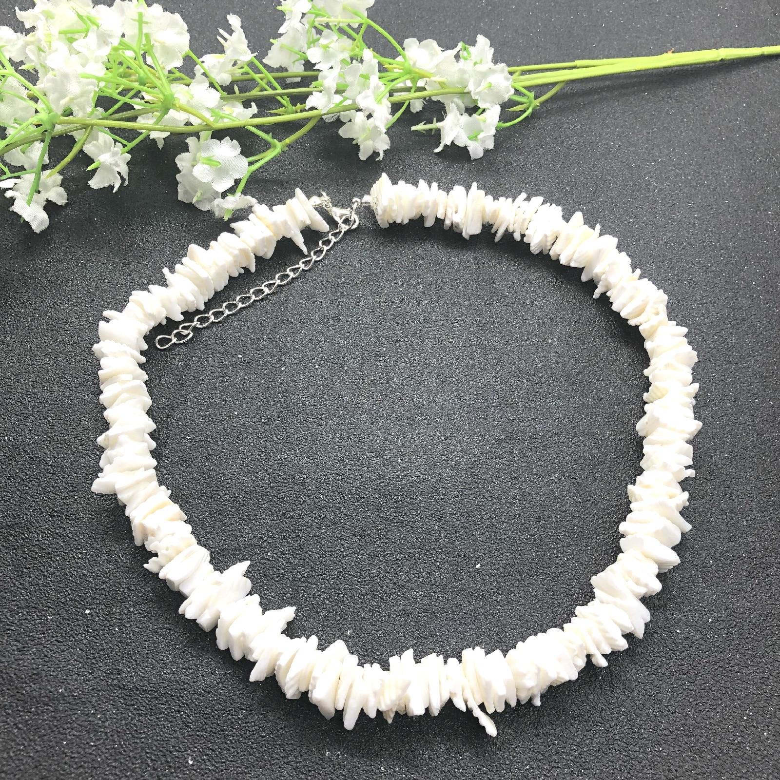 Seashell Choker Necklaces Irregular-Chips Beach-Jewelry Puka White Natural Fashion Women