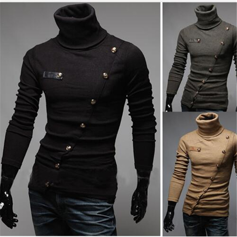 2017 New Arrival Brand Men's Sweaters Turtleneck Pullover Patchwork Personalized Paper Superscript Design Pullovers Men Clothing