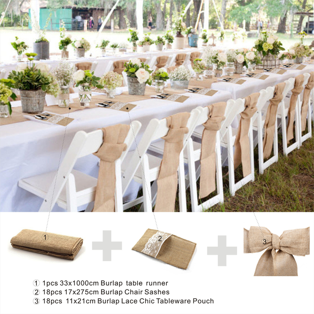 Burlap Chair Covers For Folding Chairs Kids Wooden Rocking Sashes Cover Jute Tie Bow Table Runner Lace Tableware Pouch Banquet Home Rustic Wedding Decoration