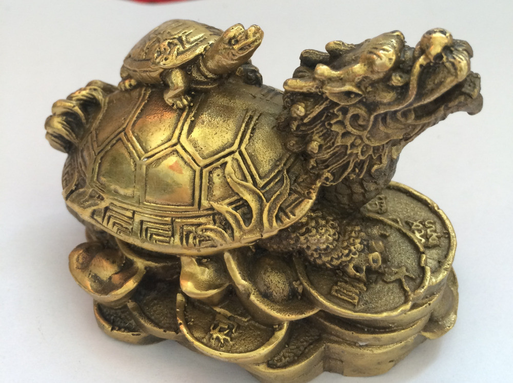 TNUKK chinois laiton richesse argent pièce lingot dragon tortue tortue longévité statue décoration