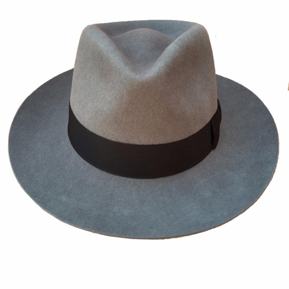 Classic Grey Men s Wo Felt Godfather Fedora Gangster Mobster Hat ... 5af67d08a12
