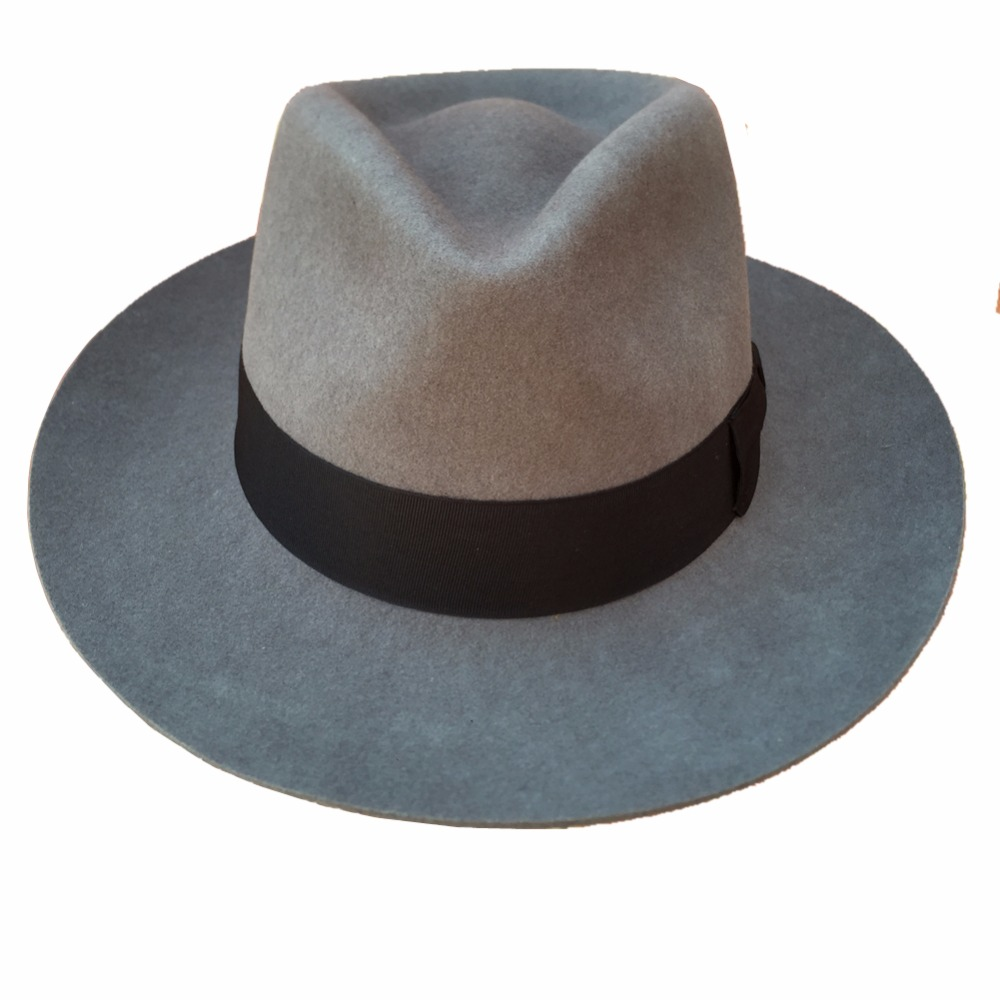 Classic Grey uomo Cappello di Feltro di Lana Padrino Fedora Gangster  Mobster in Classic Grey uomo Cappello di Feltro di Lana Padrino Fedora  Gangster ... 500ac91b0fb9
