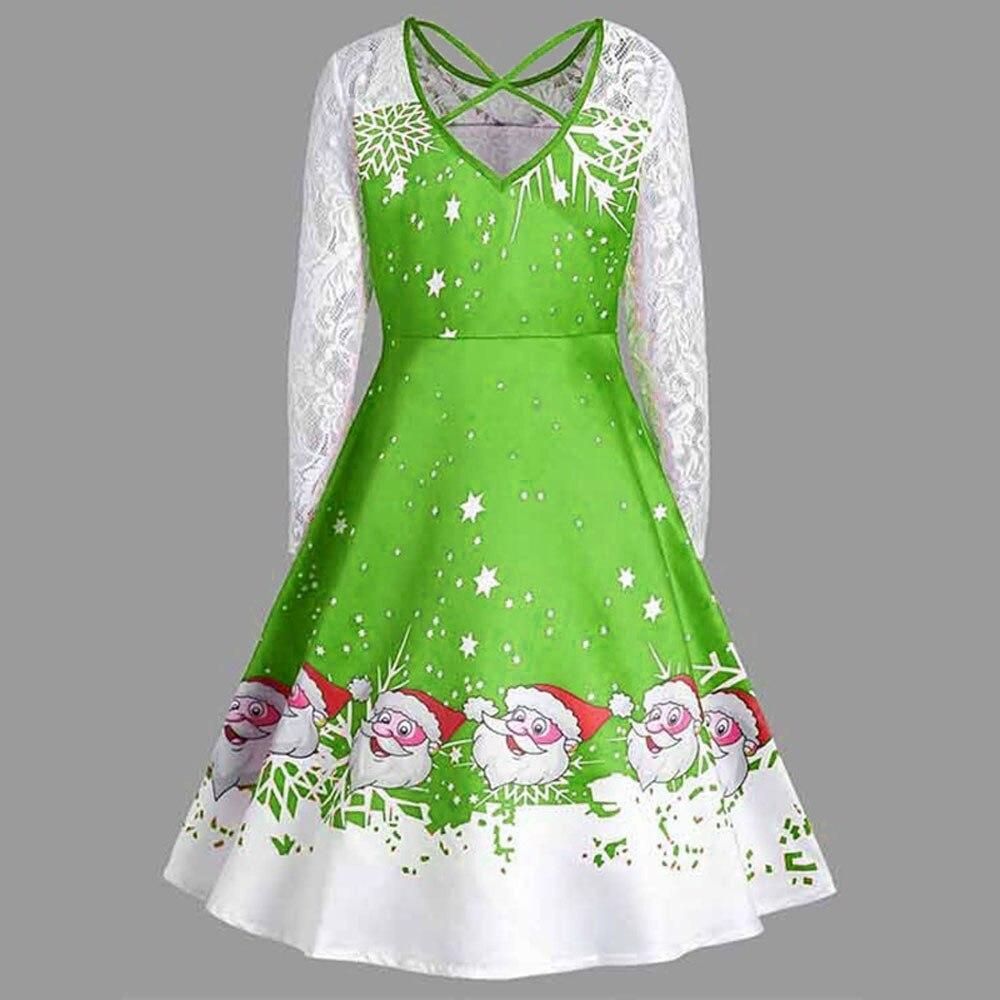 ... Women s Vintage Lace Long Sleeve Print dress female Christmas Party  Swing Dress women plus size clothing ... 5a7af639a1af
