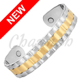 Channah 2017 Gold-plated two-tone magnetic copper men's retro treatment bracelet Free Shipping Hongkong Post