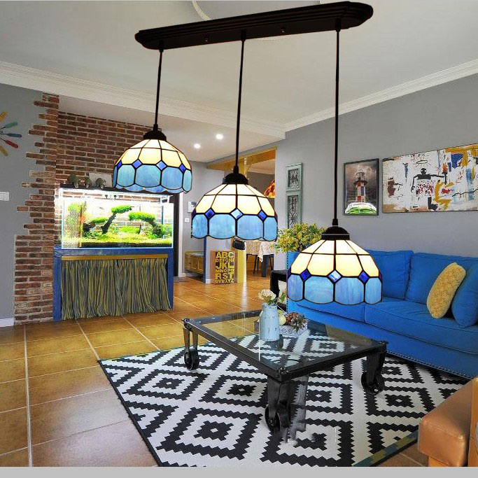 European Mediterranean Minimalist Triple Hanging Light Aegean Sea Living Room Dining Room Study Bedroom Bar Glass Lamp
