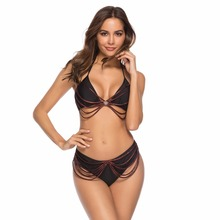Women Halter Bikini Tassel Push Up Sexy Swimwear Chain Bathing Suit Bandeau Bikini Set String Backless Beachwear Brazilian string striped bikini set with tassel