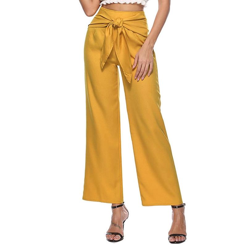 Fashion 2018   Wide     Leg     Pants   Women High Waist Casual Loose Palazzo   Pants   Bowtie Elegant Office Ladies Trousers WS9237V