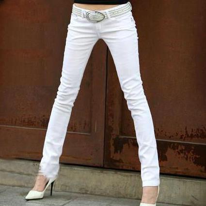 Primavera skinny jeans branco MULHERES de Slim calças stretch fino pés lápis calças botão calças de cintura