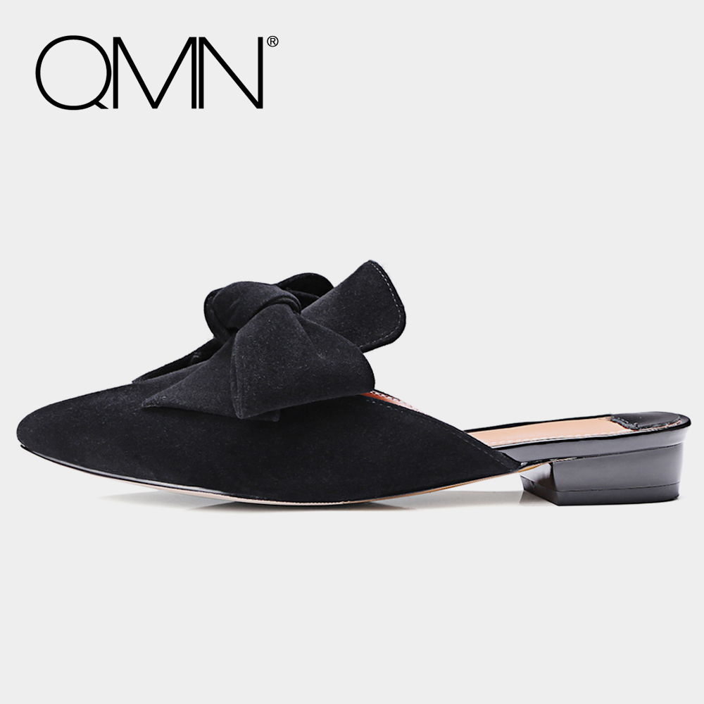 QMN genuine leather women slippers Women Bow Embellished Black Natural Suede Summer Mules Slip On Shoes Woman Leather Slides qmn women crystal embellished natural suede brogue shoes women square toe platform oxfords shoes woman genuine leather flats