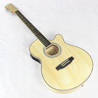 Electro Acoustic Electric Folk Pop Flattop Guitar 40 Inch Guitarra 6 String White Light Built In
