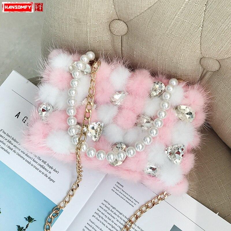 2018 nuove Donne di marea borse moda femminile tracolla a catena di diamanti borsa A Tracolla portatile borse da sera perla-in Borse con manici da Valigie e borse su  Gruppo 1