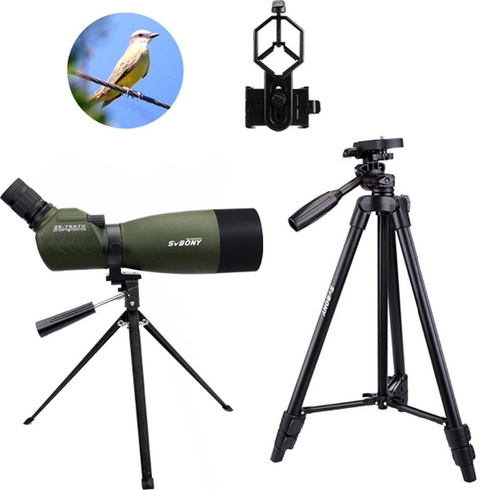 SVBONY Spotting Scope SV14 BAK4 Zoom 25-75x70mm 45De Spotting Scope Birdwatch Télescope + Téléphone Adaptateur + 2 Trépied F9310