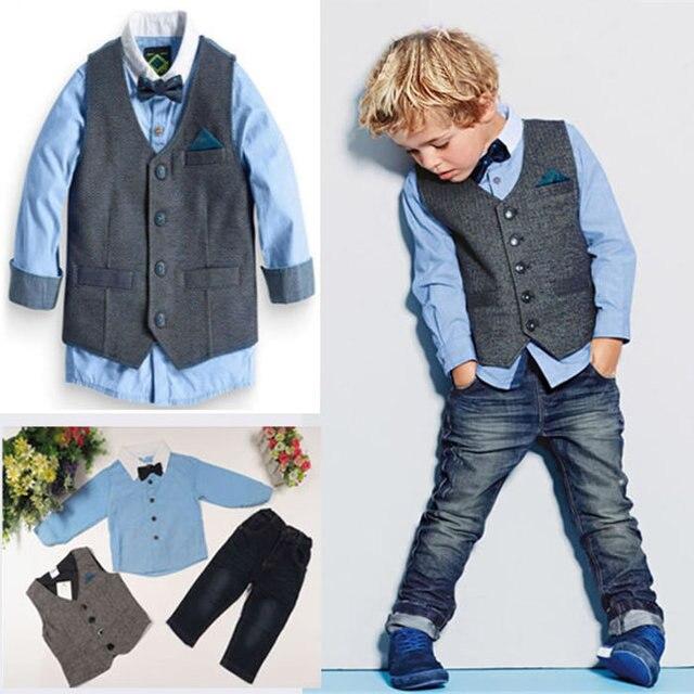 70084744e0736 Automne hiver enfants garçons Denim retour à l école ensembles vêtements  Gentleman Enfant gilet +