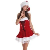 Himanjie 2017 Christmas Dress Women Red Sexy Santa Clothes Clothes Christmas Dresses Female Adult Female Photo