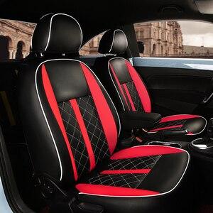 Image 1 - (2 przednie + 2 tylne) dostosowane pokrycie siedzenia samochodu wysokiej jakości skórzane pokrycie siedzenia samochodu dla Volkswagen Beetle akcesoria samochodowe stylizacji