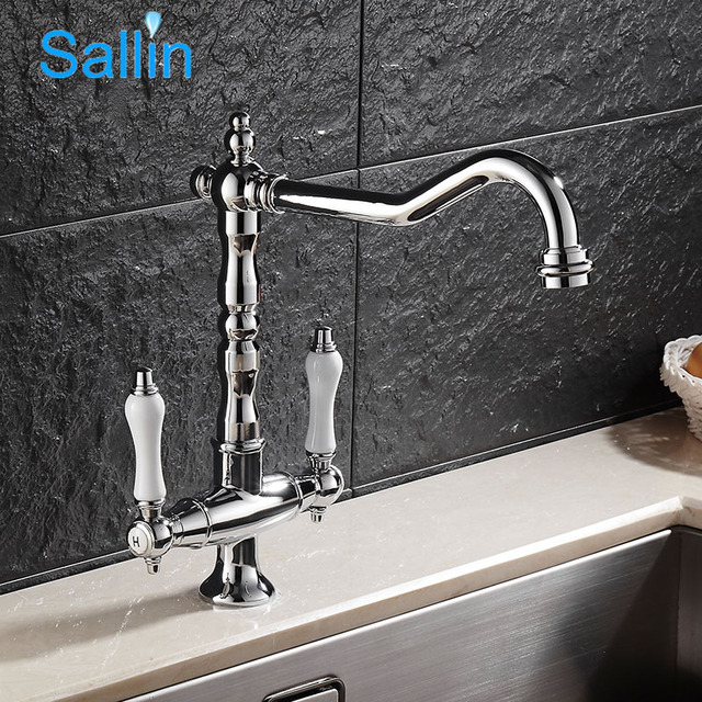 Vintage European Style Kitchen Faucets Dual Handle Brass Chrome ...