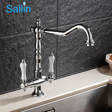 Vintage European Style Kitchen Faucets Dual Handle Brass Chrome Kitchen Sink T 360 Rotatable Hot and Cold Kitchen Mixer