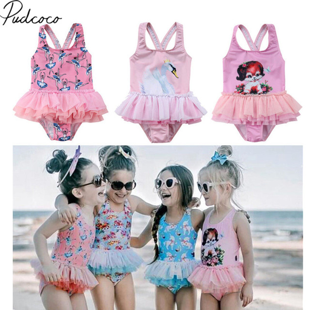 e92a19a650 2018 Brand New Toddler Kids Baby Girls Summer Tulle Dress Swimwear Swimsuit  Cartoon Ruffles Bikini One Piece Bathing Suit 2-7T