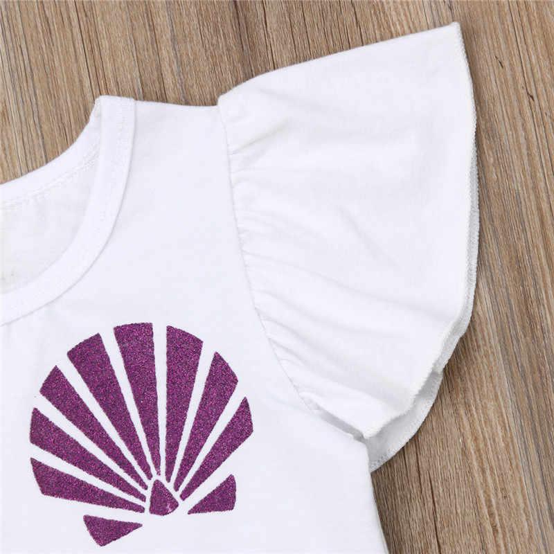 2019 2 PCS Yürüyor Çocuk Bebek Kız Giyim Üst Şort Pantolon Mermaid Kıyafet Seti kızlar yaz giyim hediye
