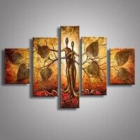 Nowoczesne Ręcznie Malowane Złoty Obraz Olejny Abstrakcyjne Drzewo Lover Hug Nago Malarstwo Akrylowe Wall Art Home Decoration 5 Panel Zdjęcia