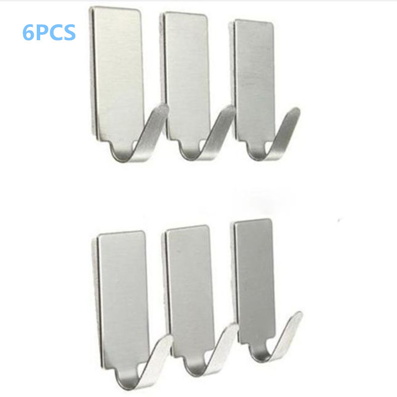 6PCS Wall Hooks For Hanging Self Adhesive Home Kitchen Wall Door Stainless Steel Holder Hook For Hanging Clothes Hanger 8.31