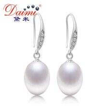 Daimi 9-10mm genuino perlas de agua dulce naturales, marca Nueva Europa Retro Pendientes de Gota Para Las Mujeres