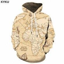 KYKU World Map Hoodie Men Yellow Sweatshirts Vintage Geometric 3d Hoodies Cool Sailboat Printed Sweatshirt Anime Mens Clothing
