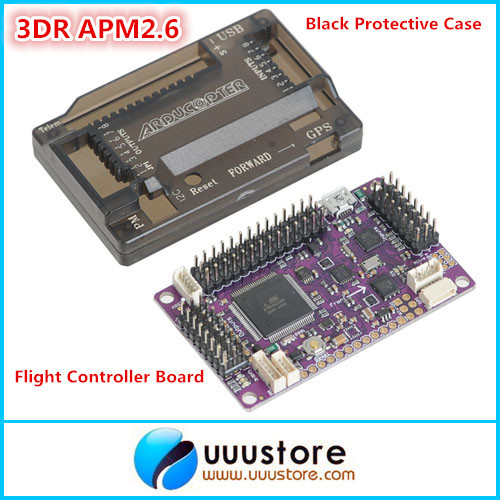 3DR APM2.6 ArduPilot Mega 2.6 External Compass APM  Flight Controller Board with Black Protective Case for Multicopter Airplane apm 2 6 flight controller board ardupilot mega 2 6 version with side pin connector for multicopter