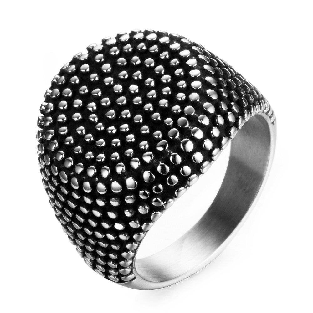 New Ring Men Stainless Steel Finger Art Antique Retro Silver Titanium Stainless Round Rings Point Punk Men Jewelry Designer