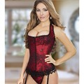 Sexy Women Pattern Boned Corset Bustiers Burlesque corset top Overbust Costume corsets with G-string