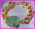 5PCS Fashion Natural Green Druzy Agate Stone Bracelet,Gold Plated Chunky Chain Bracelet Druzy Drusy stone bracelet bangle