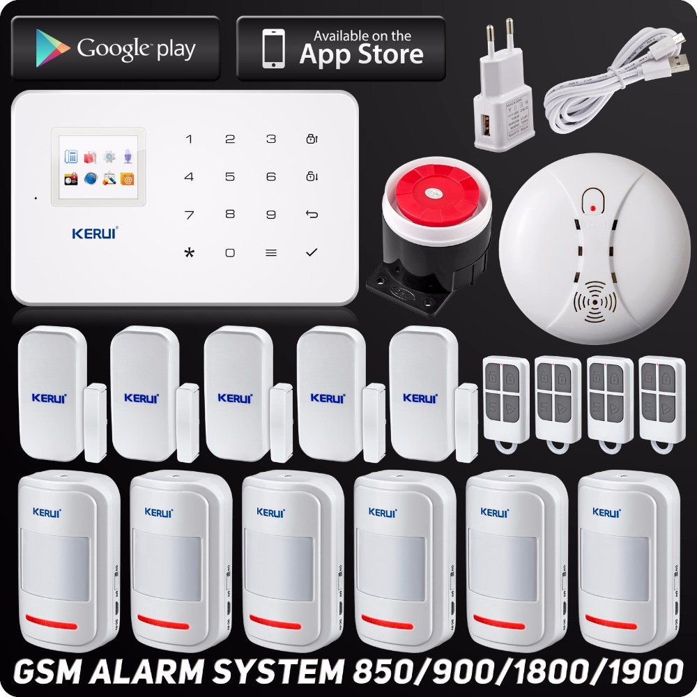 English Russian Kerui Wireless GSM Home Security Alarm System ISO Android APP Security Alarm System Wireless Smoke Detector yaskawa hw0470360 a yaskawa yasukawa motoman industrial robots dedicated battery
