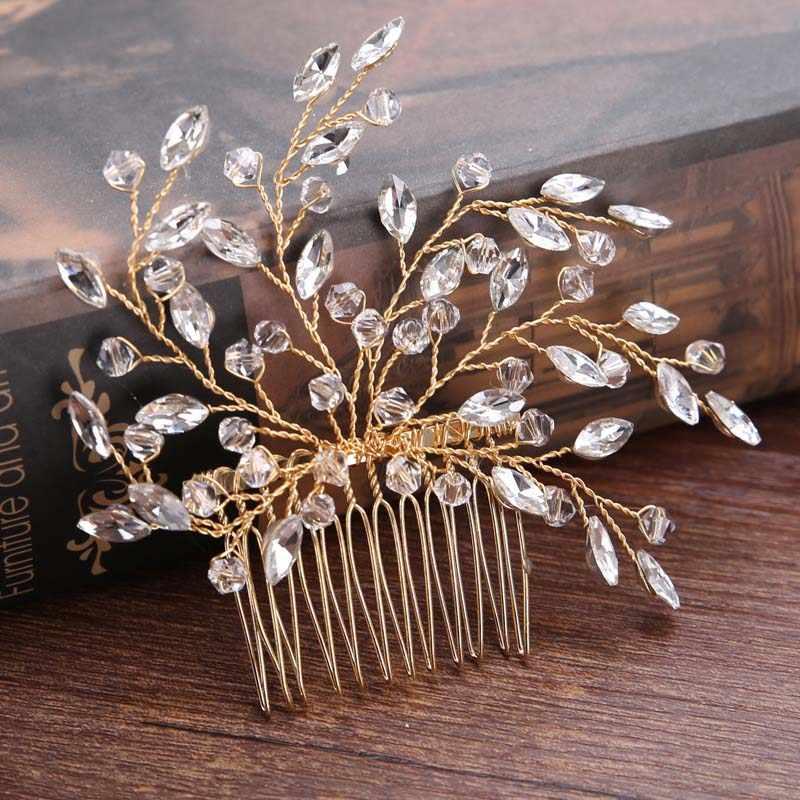 ヴィンテージゴールド/シルバークリスタルヘアくしジュエリーブライダルヘッドピースティアラヘッドジュエリー女性人工毛