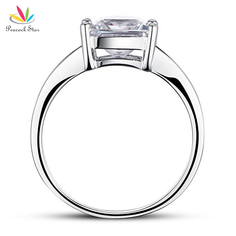 Peacock Star 1.5 Ct Princes Cut Solid 925 Sterling Silver Wedding Promise Engagement Ring CFR8006