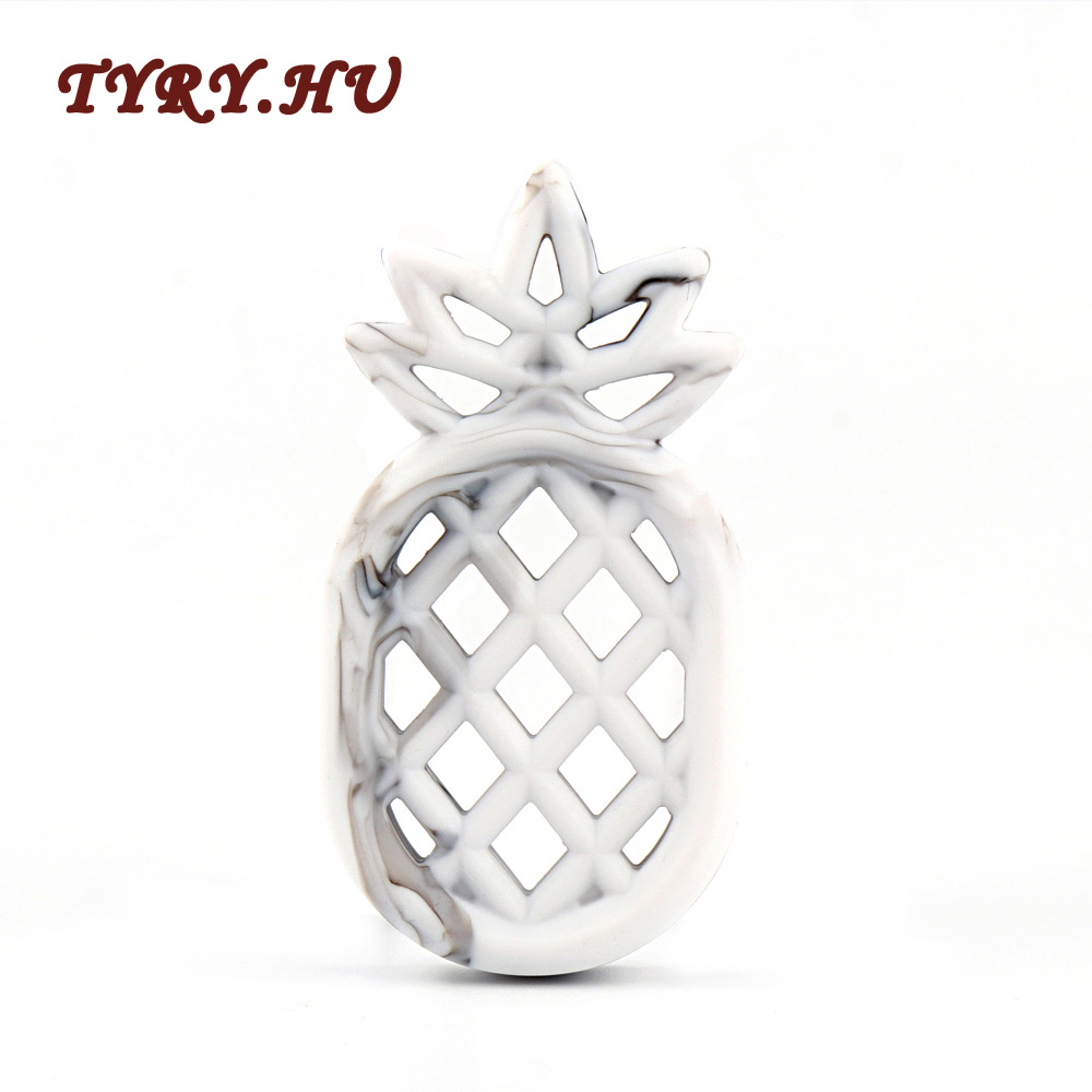 TYRY.HU 1pc Food grade Silicone Teether Beads Pineapple Babies Teething Pendant Nursing Soft Safe Toys For Soothe Teething Baby