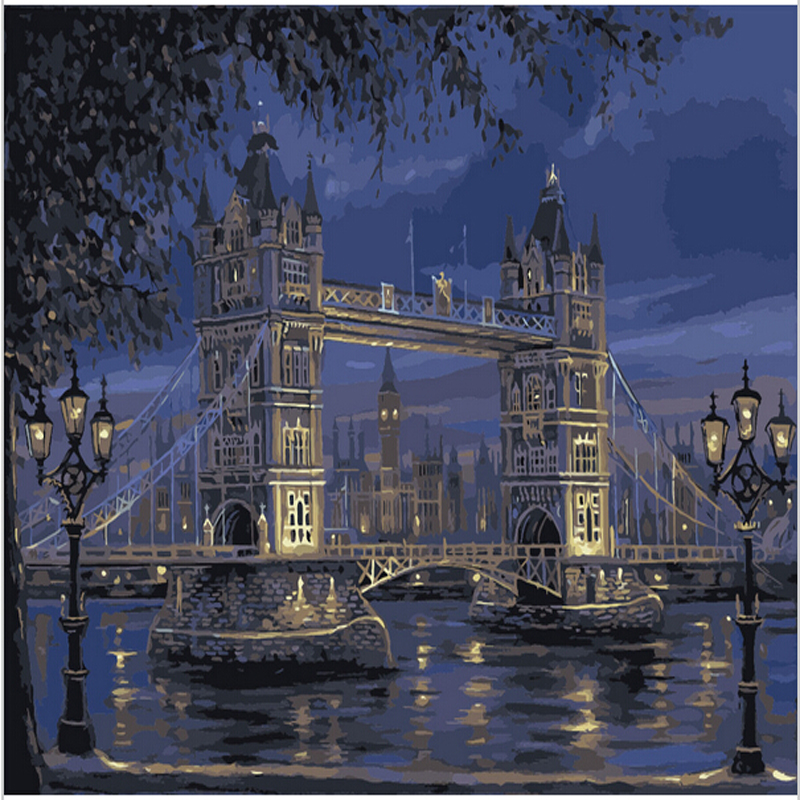 Vintage home decor Acrylic oil paintings on canvas wall pictures for living room painting by numbers London Tower Bridge H534