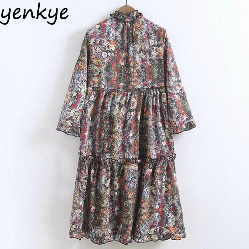 Stand Collar Dress Designs : Vintage women floral printed dress frill stand collar long