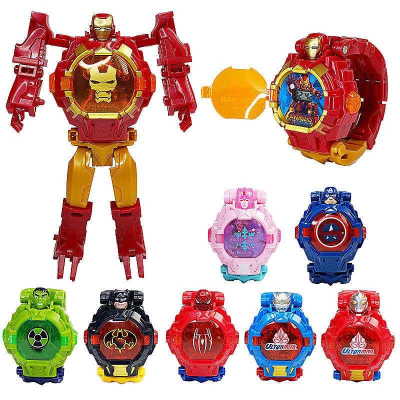 2019 New Superhero Robot Children's Watch Toy For Children's Birthday Christmas Gift Girl Boy Watch Deformation Toy Wristwatch