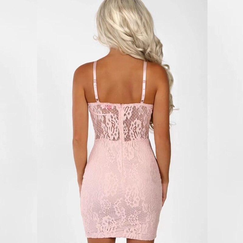 En V Dos Femmes Rose Bandage Robes Noir Sumer Col Creux Gaine De Courroie Clubwear Nouveau 2018 Robe Nu Mini Dentelle Sexy X8n0wOPk